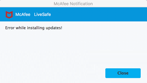 mcafee livesafe MAC update error
